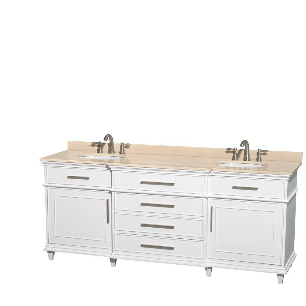 Berkeley 80-inch W Double Vanity in White with Marble Top in Ivory and Oval Sinks