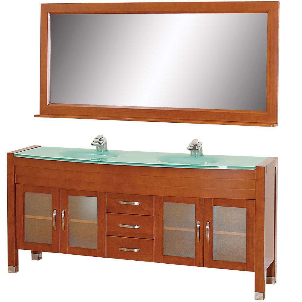 Daytona 71-inch W Vanity in Cherry with Glass Top in Aqua, Double Basins and Mirror