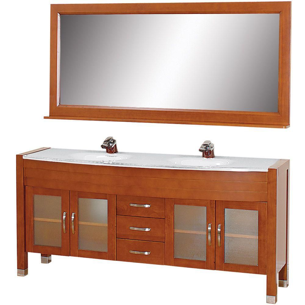 Daytona 71-inch W Vanity in Cherry with Stone Top in White and Mirror