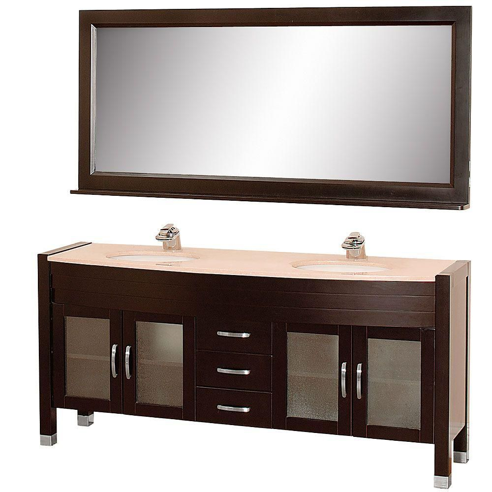 Daytona 71-inch W Vanity in Espresso with Marble Top in Ivory, Double Basins and Mirror