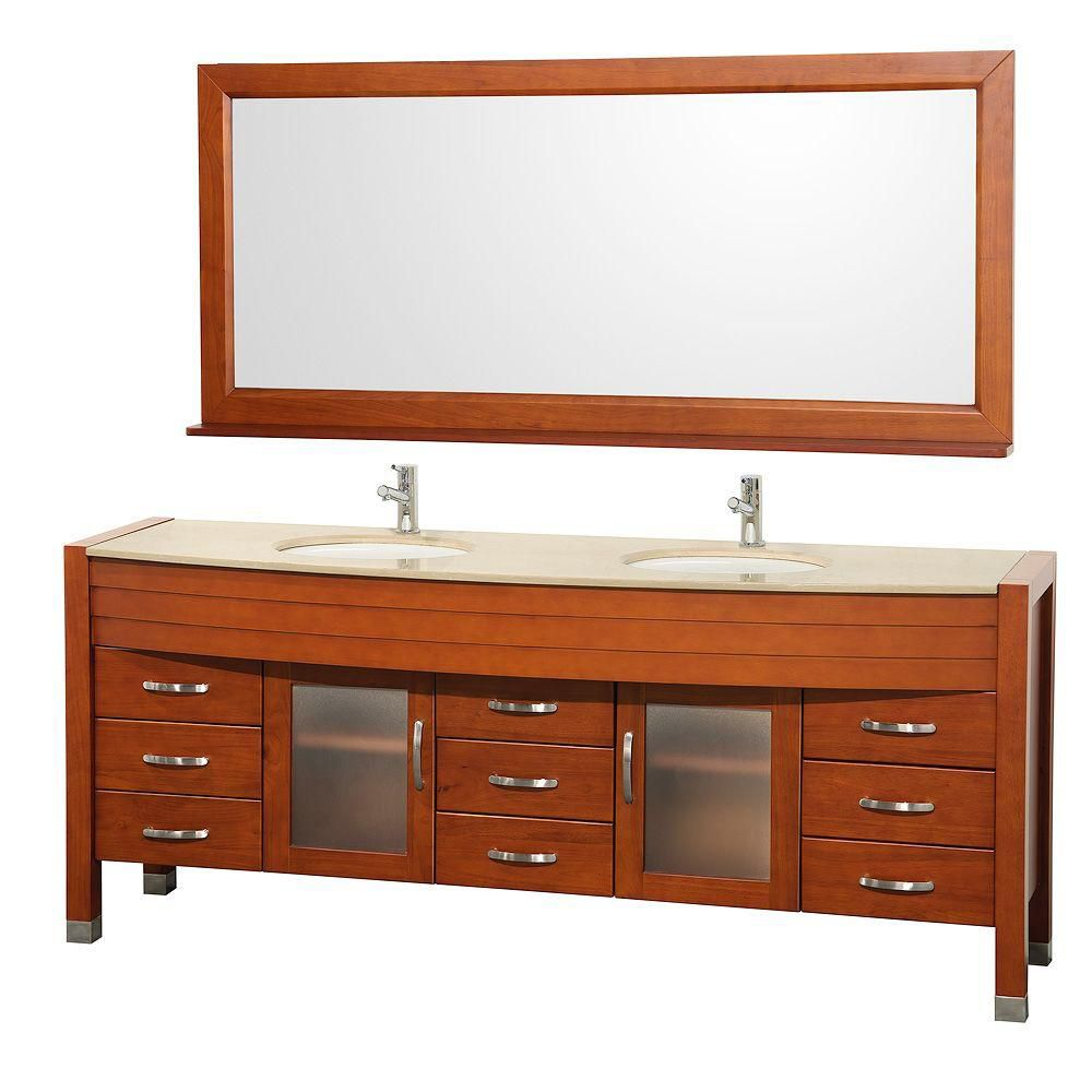 Daytona 78-inch W Vanity in Cherry with Marble Top in Ivory, Double Basins and Mirror