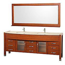 Wyndham Collection Daytona 78-inch W 9-Drawer 2-Door Vanity in Brown With Marble Top in Beige Tan, Double Basins