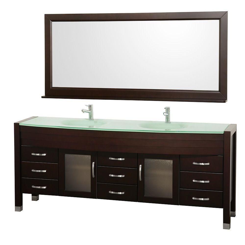 Daytona 78-inch W Double Vanity in Espresso with Glass Top in Aqua, Double Basins and Mirror