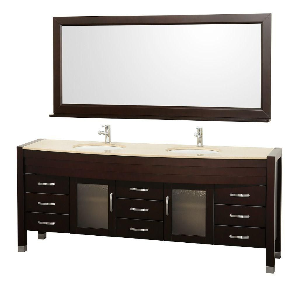 Daytona 78-inch W Vanity in Espresso with Marble Top in Ivory, Double Basins and Mirror