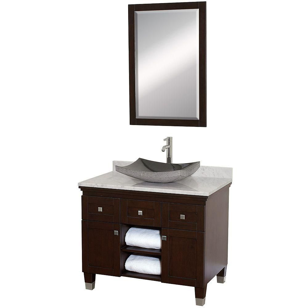 Premiere 36-inch W Vanity in Espresso with Marble Top in Carrara White, Black Sink and Mirror