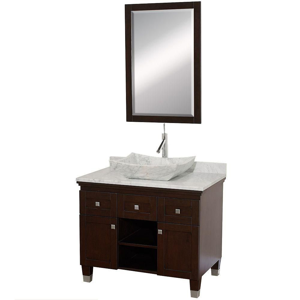 Premiere 36-inch W Vanity in Espresso with Marble Top in White Carrara and Mirror