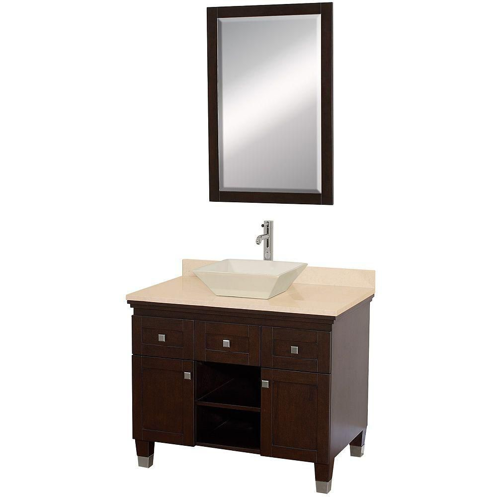 Premiere 36-inch W Vanity in Espresso with Marble Top in Ivory and Mirror