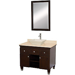 Wyndham Collection Premiere 36-inch W 2-Drawer 2-Door Vanity in Brown With Marble Top in Beige Tan With Mirror