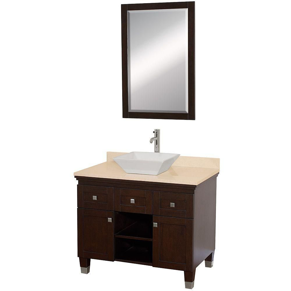 Premiere 36-inch W Vanity in Espresso with Marble Top in Ivory, White Porcelain Sink and Mirror