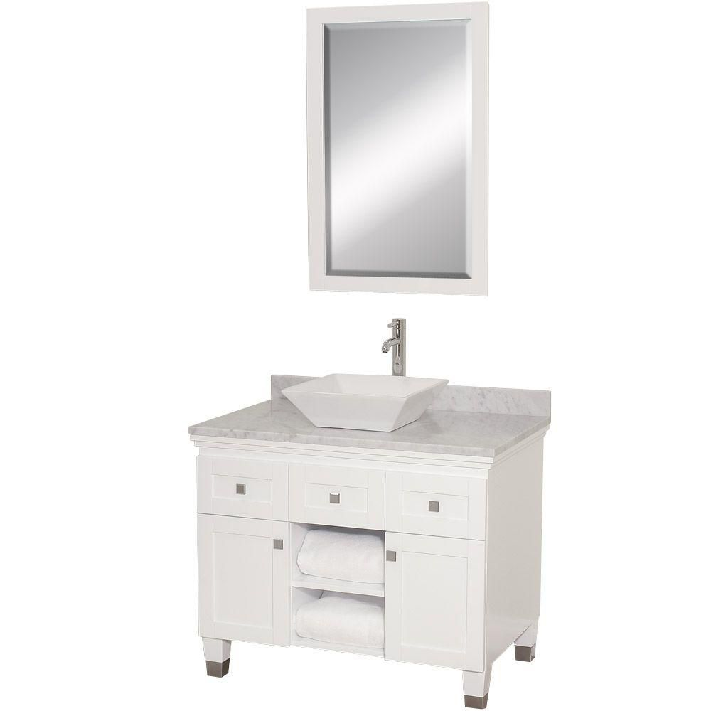 Premiere 36-inch W Vanity in White with Marble Top in Carrara White, Sink and Mirror