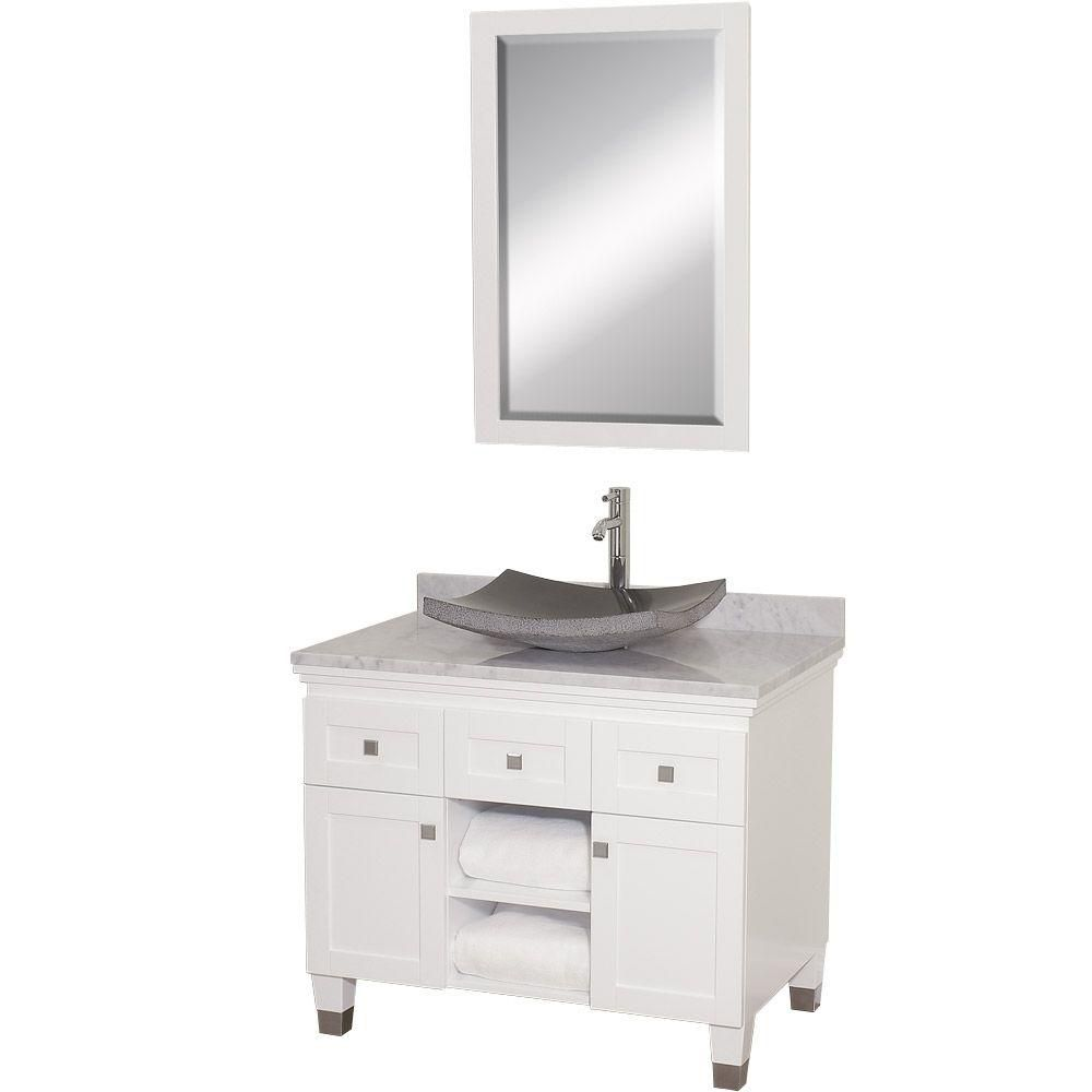 Premiere 36-inch W Vanity in White with Marble Top in Carrara White, Granite Sink and Mirror