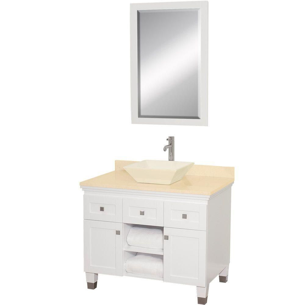 Premiere 36-inch W Vanity in White with Marble Top in Ivory, Bone Porcelain Sink and Mirror