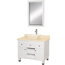 Wyndham Collection Premiere 36-inch W 2-Drawer 2-Door Vanity in White With Marble Top in Beige Tan With Mirror