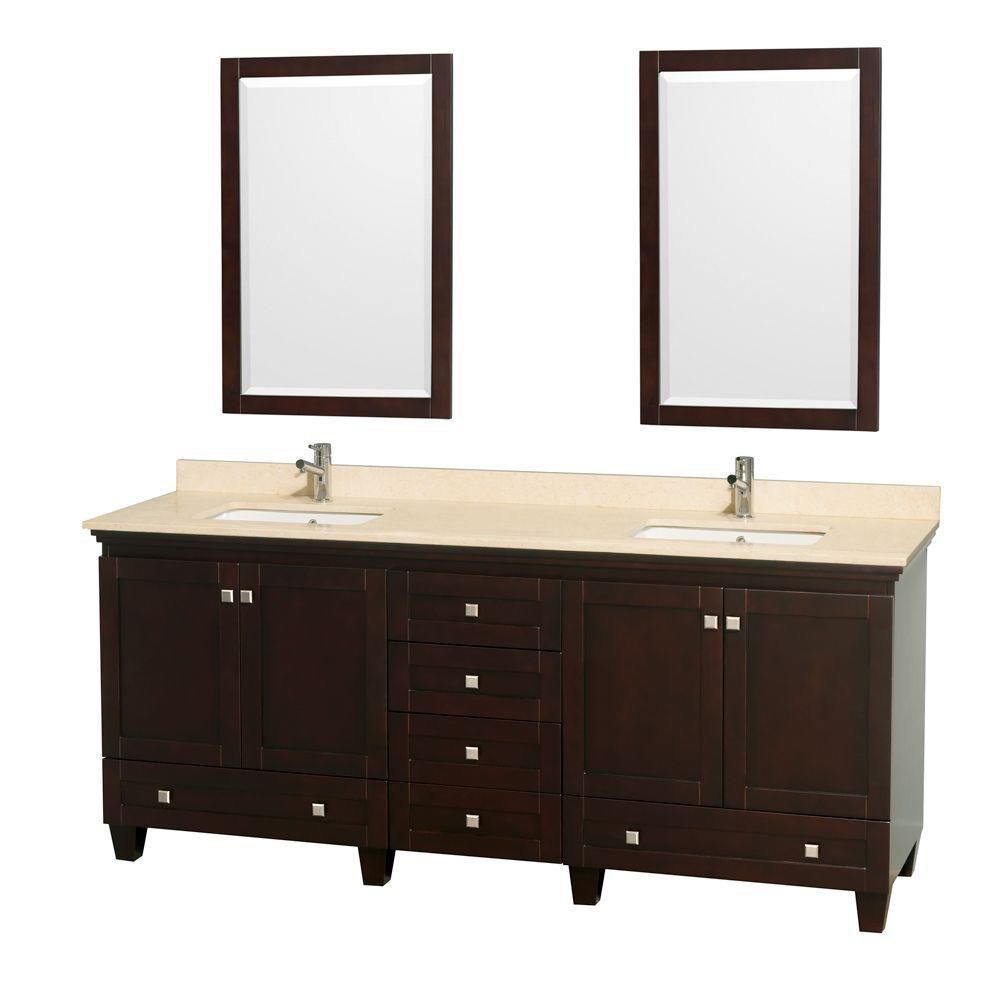Acclaim 80-inch W Double Vanity in Espresso with Top in Ivory, Square Sinks and Mirror