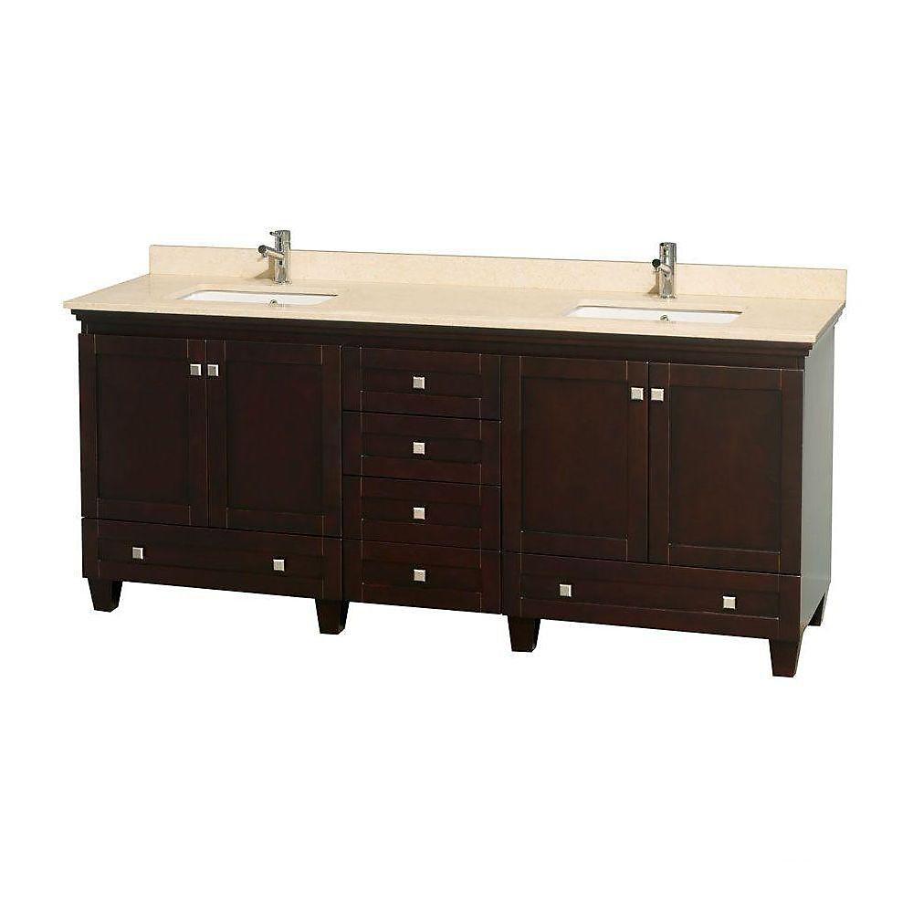 Acclaim 80 po Meuble dbl. espresso et revêtement ivoire, éviers carrés et sans miroir