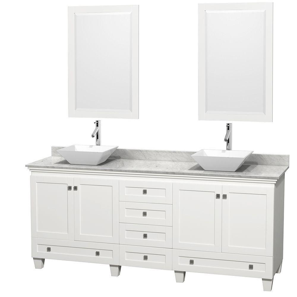 Acclaim 80 po Meuble blanc double avec revêtement blanc Carrare, éviers blancs et miroirs