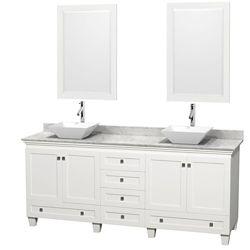 Wyndham Collection Acclaim 80 po Meuble blanc double avec revêtement blanc Carrare, éviers blancs et miroirs