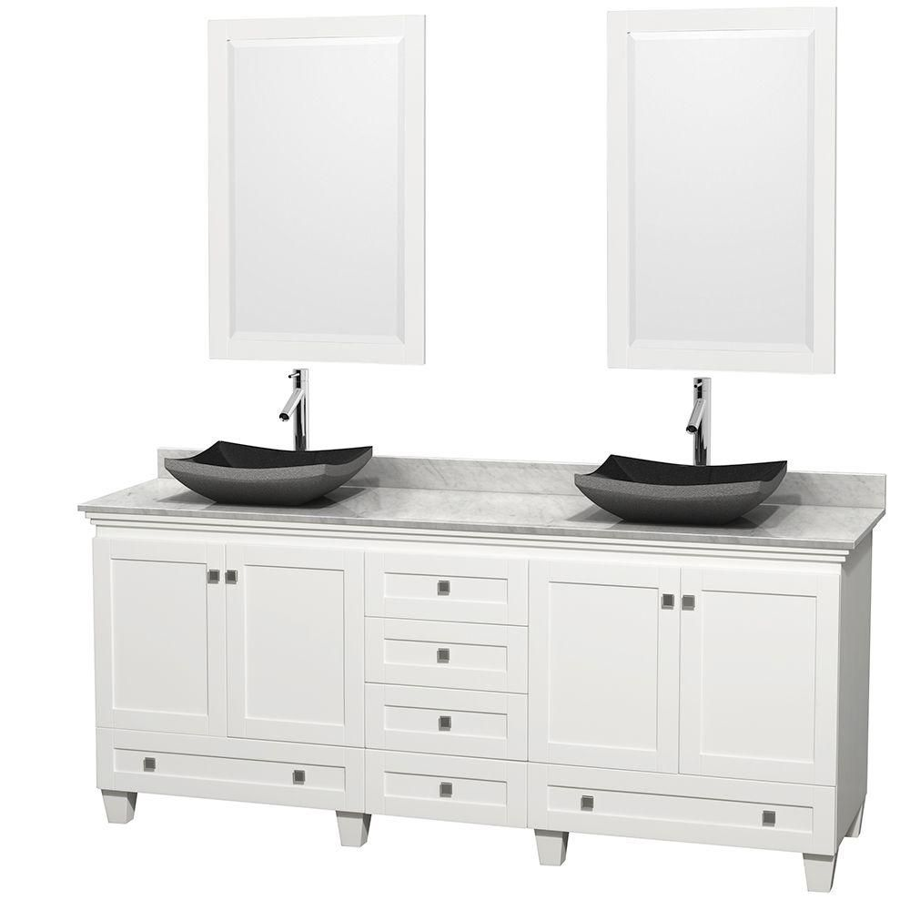 Acclaim 80-inch W Double Vanity in White with Top in Carrara White, Black Sinks and Mirrors