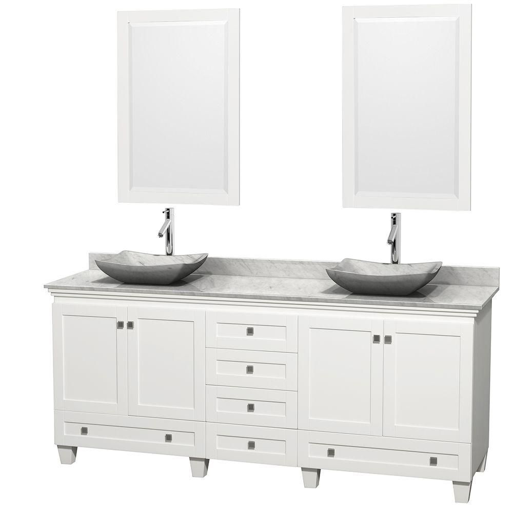 Acclaim 80-inch W Double Vanity in White with Top in Carrara White, White Sinks and Mirrors