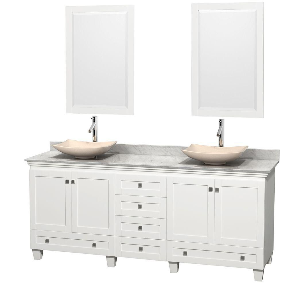 Acclaim 80-inch W Double Vanity in White with Top in Carrara White, Ivory Sinks and Mirrors