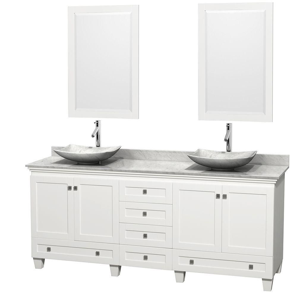 Acclaim 80-inch W Double Vanity in White with Top in Carrara White, White Carrara Sinks and Mirro...