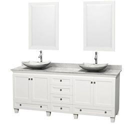 Wyndham Collection Acclaim 80 po Meuble blanc dbl. et revêtement blanc Carrare, éviers Carrare blanc et miroirs