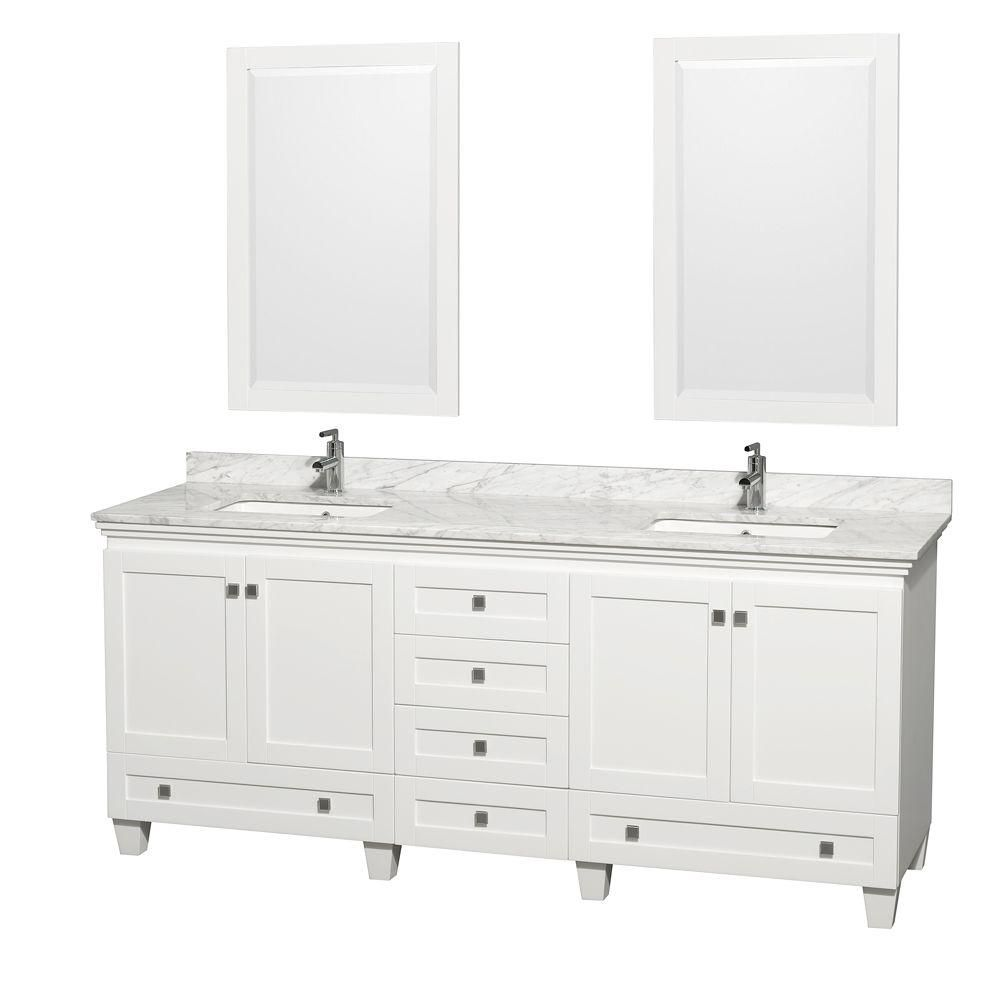 Acclaim 80-inch W Double Vanity in White with Top in Carrara White, Square Sinks and Mirror