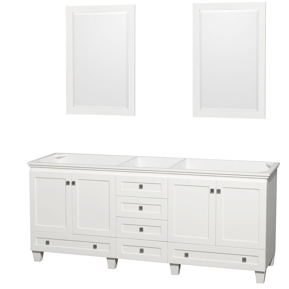 Acclaim 80-inch W Double Vanity in White Finish with Mirrors