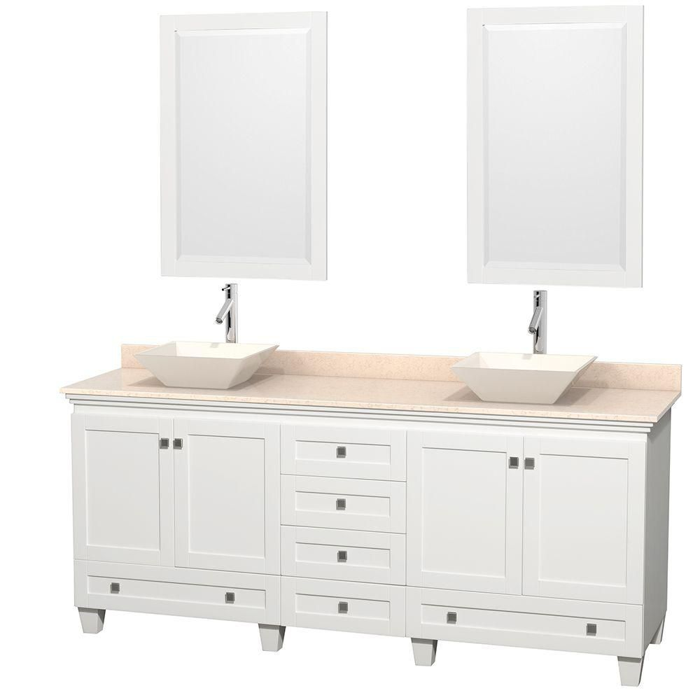 Acclaim 80-inch W 6-Drawer 4-Door Vanity in White With Marble Top in Beige Tan, Double Basins