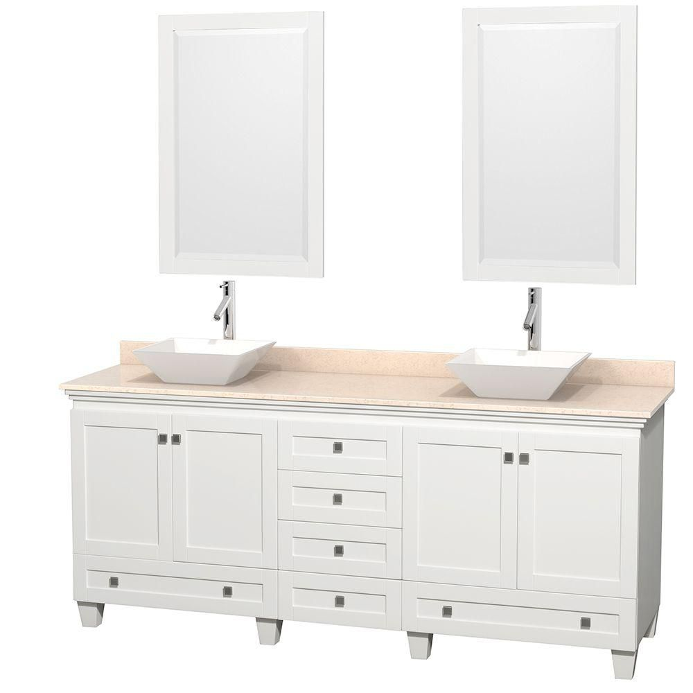 Acclaim 80-inch W Double Vanity in White Finish with Top in Ivory, White Sinks and Mirrors