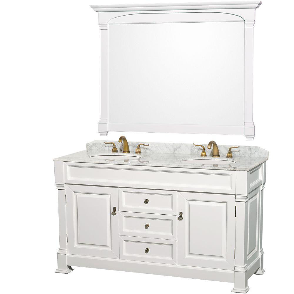 Andover 60-inch W 3-Drawer 2-Door Vanity in White With Marble Top in White, 2 Basins With Mirror