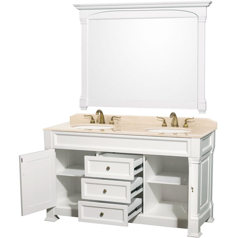 Wyndham Collection Andover 60-inch W 3-Drawer 2-Door Vanity in White With Marble Top in Beige Tan, Double Basins