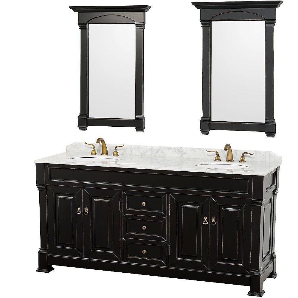 Andover 72 po Meuble couleur noir antique et revêtement en marbre blanc Carrare et miroirs