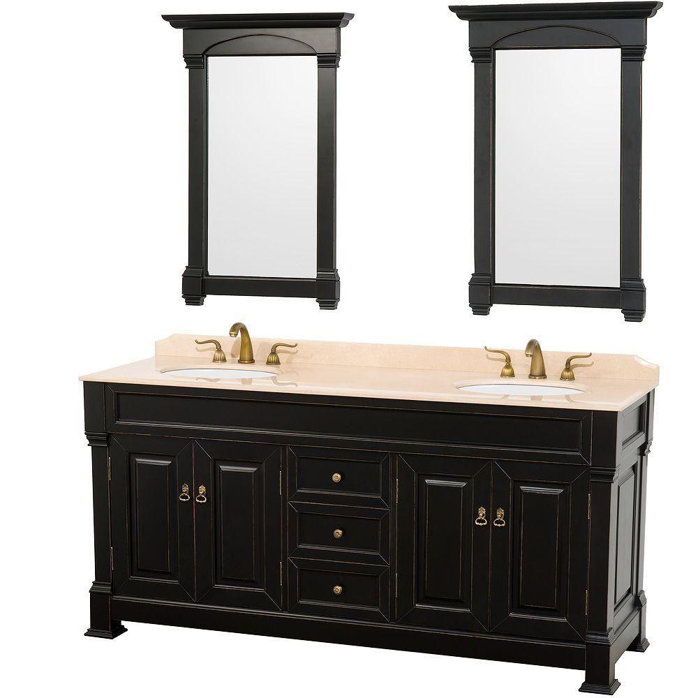 Andover 72-inch W Vanity in Antique Black with Marble Top in Ivory and Mirrors