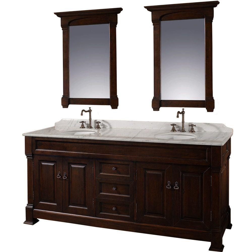 Andover 72-inch W Vanity in Dark Cherry with Marble Top in Carrara White and Mirrors