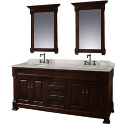 Wyndham Collection Andover 72-inch W 3-Drawer 4-Door Vanity in Brown With Marble Top in White, 2 Basins With Mirror