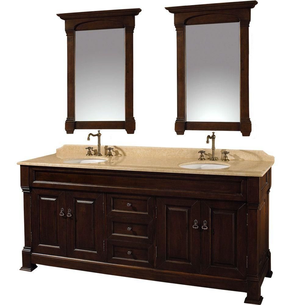 Andover 72-inch W Vanity in Dark Cherry with Marble Top in Ivory and Mirrors