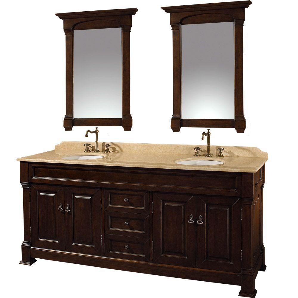 Andover 72 po Meuble cerise foncé et dessus de meuble à évier dbl. en marbre ivoire et miroir