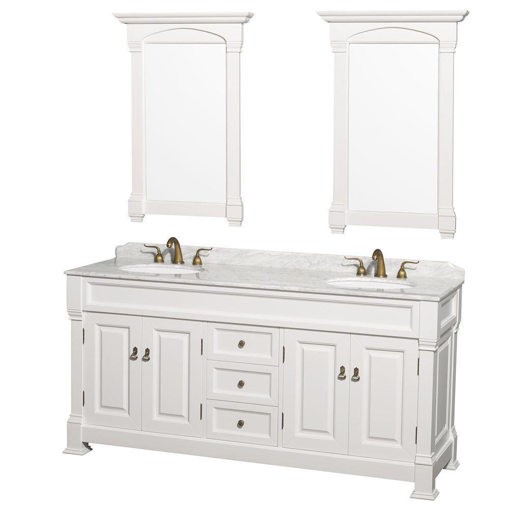 Andover 72 po Meuble blanc dbl. et revêtement en marbre blanc Carrare et évier sous comptoir