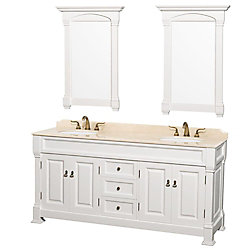 Wyndham Collection Andover 72-inch W 3-Drawer 4-Door Vanity in White With Marble Top in Beige Tan, Double Basins
