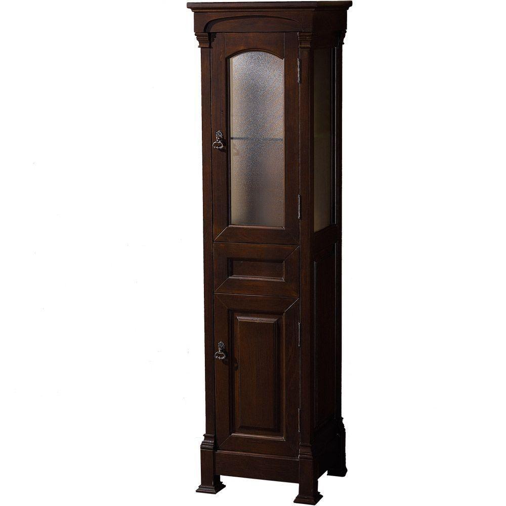 Andover 18-inch W x 65-inch H x 16-inch D Bathroom Linen Storage Tower Cabinet in Dark Cherry
