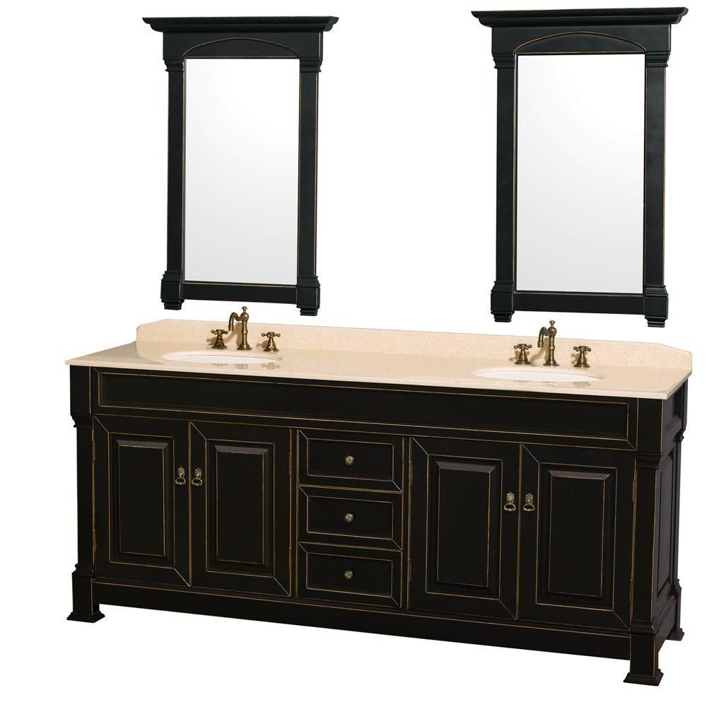 Andover 80-inch W Vanity in Black with Marble Top in Ivory, Porcelain Sinks and Mirrors