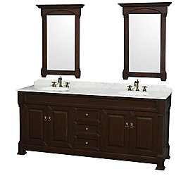 Wyndham Collection Andover 80-inch W 3-Drawer 4-Door Vanity in Brown With Marble Top in White, 2 Basins With Mirror