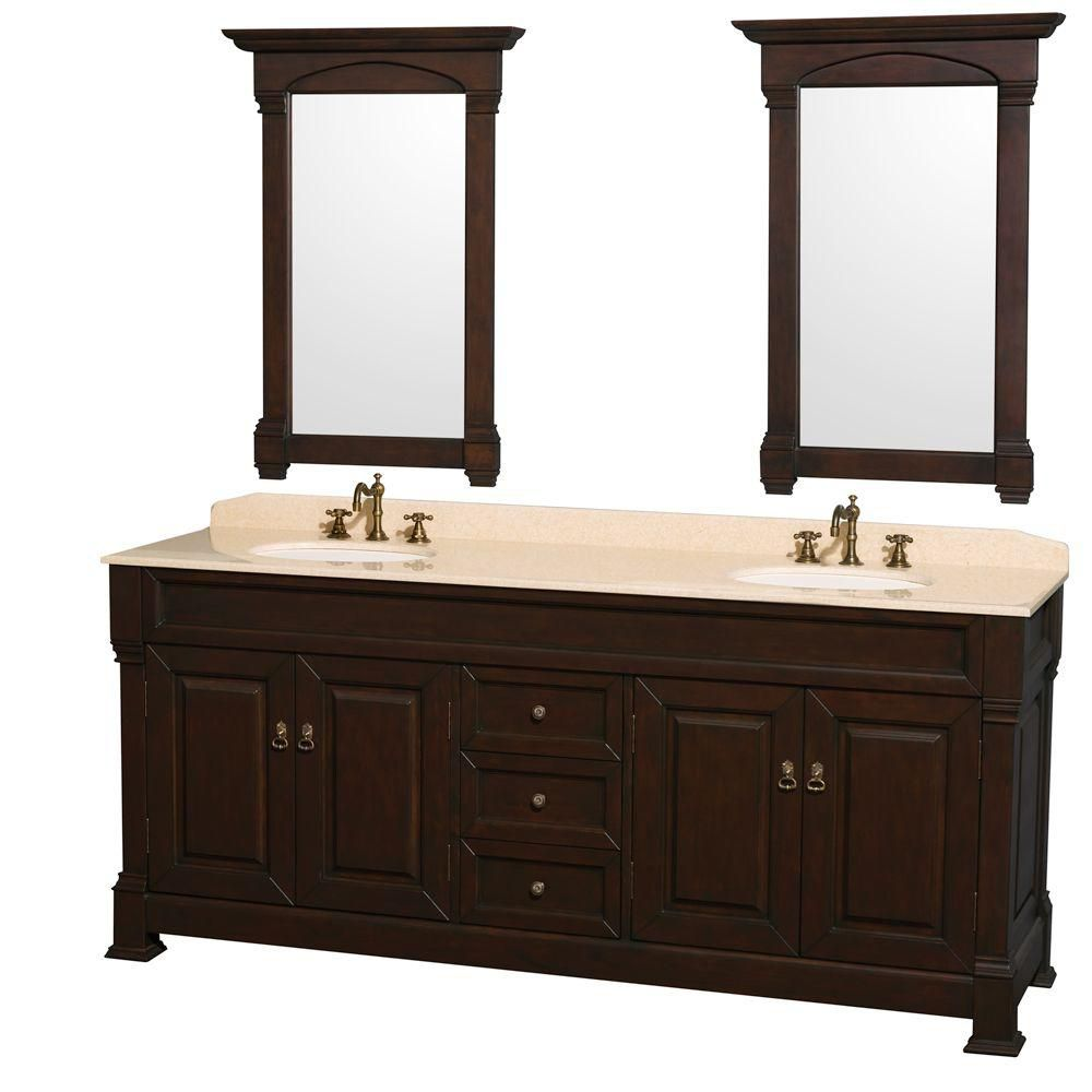 Andover 80-inch W Vanity in Dark Cherry with Marble Top in Ivory and Mirrors