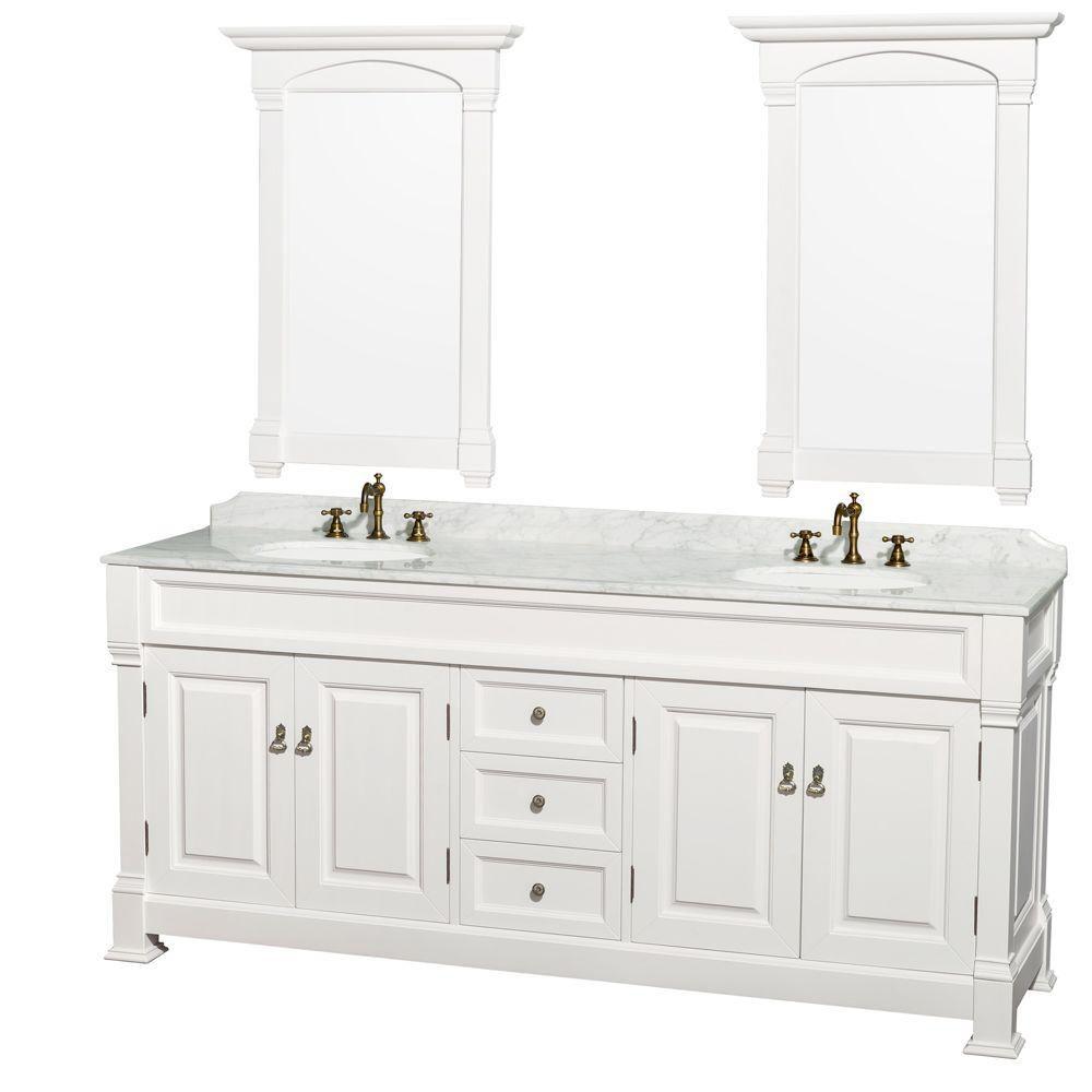 Andover 80 po Meuble blanc et revêtement en marbre blanc Carrare, éviers en porcelaine et miroir