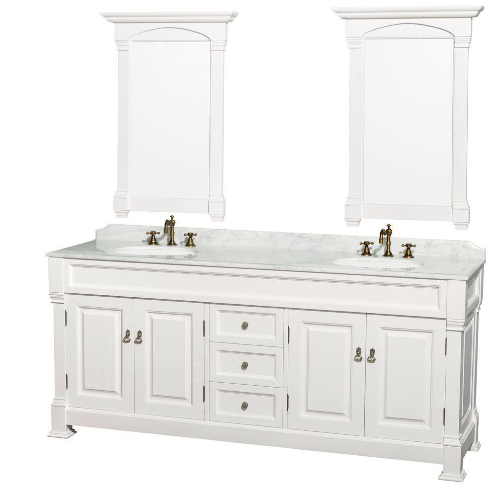 Andover 80-inch W Vanity in White with Marble Top in Carrara White and Mirrors