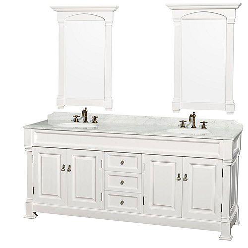 Wyndham Collection Andover 80 po Meuble blanc et revêtement en marbre blanc Carrare, éviers en porcelaine et miroir
