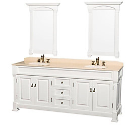 Wyndham Collection Andover 80-inch W 3-Drawer 4-Door Vanity in White With Marble Top in Beige Tan, Double Basins