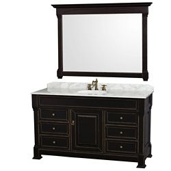 Wyndham Collection Andover 60-inch W 6-Drawer 1-Door Freestanding Vanity in Black With Marble Top in White With Mirror