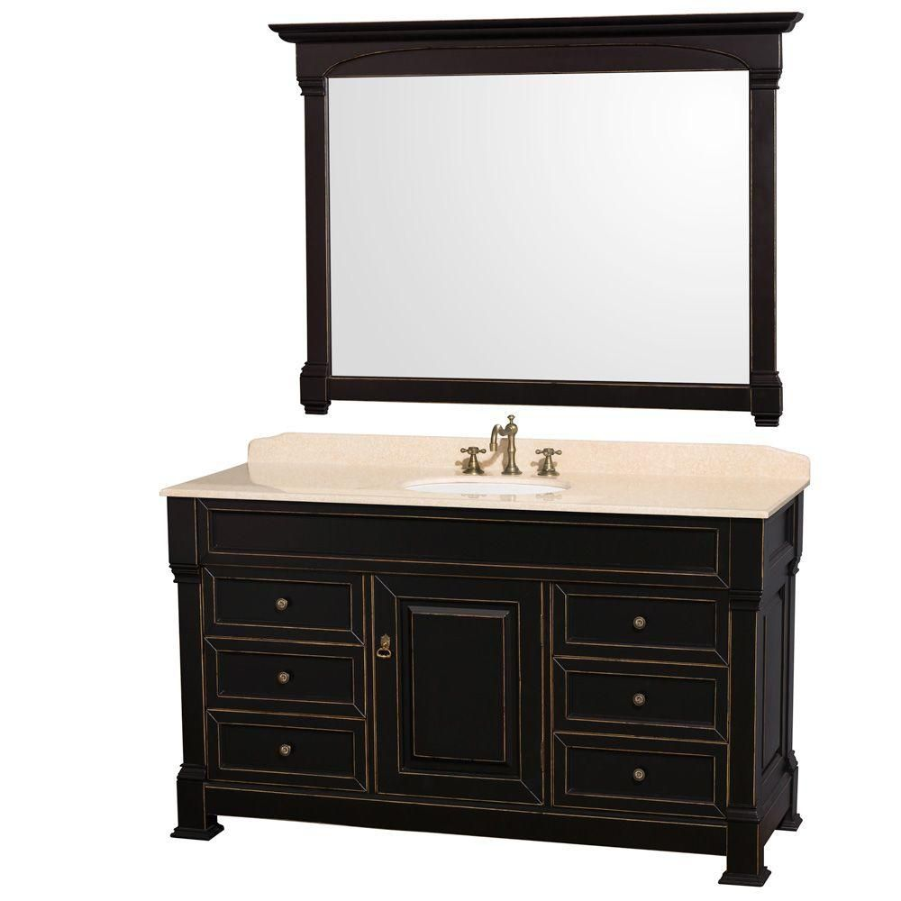 Andover 60-inch W Vanity in Black with Marble Top in Ivory, Porcelain Sink and Mirror
